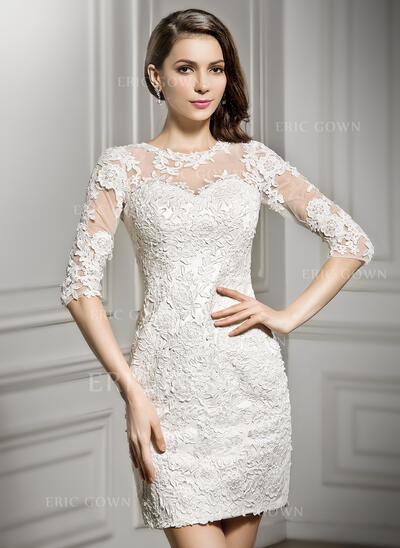 Sheath/Column Illusion Short/Mini Lace Wedding Dress (002057296)
