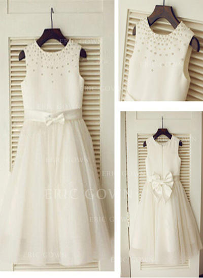 A-Line/Princess Scoop Neck Knee-length With Beading/Bow(s) Satin/Tulle Flower Girl Dresses (010211916)