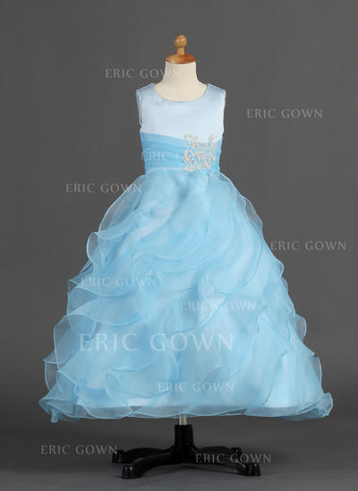 2018 New Scoop Neck A-Line/Princess Flower Girl Dresses Ankle-length Organza/Satin Sleeveless (010007297)