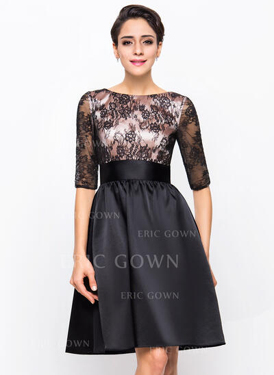A-Line Scoop Neck Knee-Length Charmeuse Lace Cocktail Dress (016055942)
