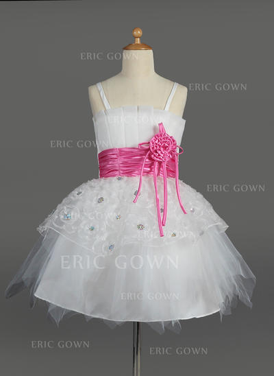 Beautiful Scalloped Neck Empire Flower Girl Dresses Knee-length Tulle/Charmeuse Sleeveless (010014602)