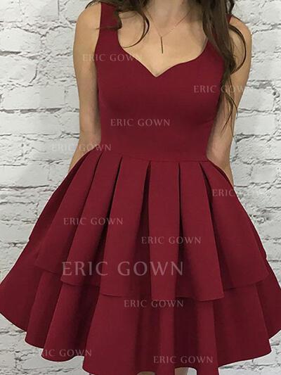 A-Line/Princess V-neck Short/Mini Homecoming Dresses With Cascading Ruffles (022216338)