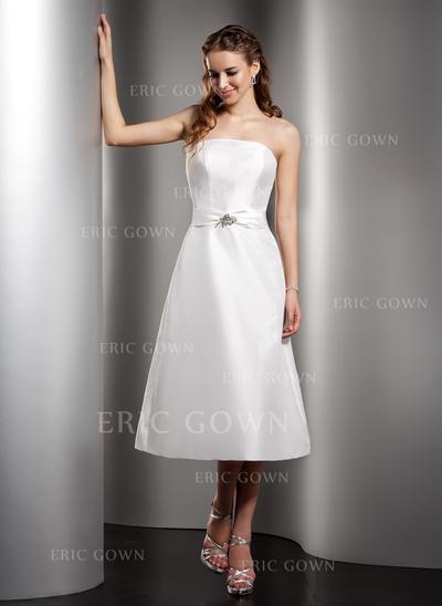 A-Line/Princess Taffeta Bridesmaid Dresses Ruffle Beading Strapless Sleeveless Tea-Length (007001078)