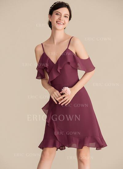 A-Line V-neck Knee-Length Chiffon Cocktail Dress With Cascading Ruffles (016192790)