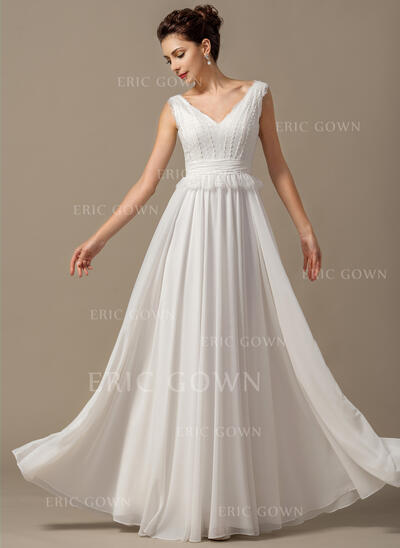 A-Line/Princess V-neck Floor-Length Chiffon Wedding Dress With Bow(s) Cascading Ruffles (002068150)