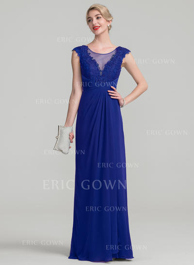 A-Line/Princess Chiffon Lace Sleeveless Scoop Neck Floor-Length Zipper Up Mother of the Bride Dresses (008114258)