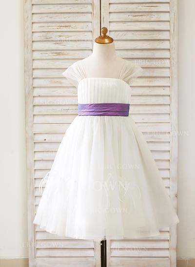 A-Line/Princess Straps Tea-length With Sash Tulle Flower Girl Dresses (010210133)