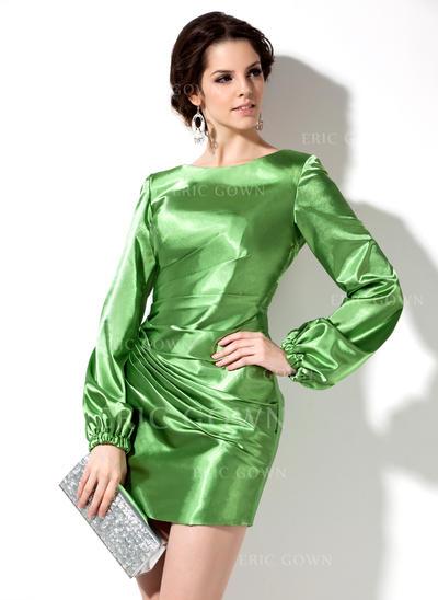 Sheath/Column Scoop Neck Short/Mini Charmeuse Cocktail Dresses With Ruffle Beading (016008265)