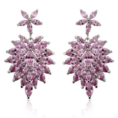 "Earrings Zircon/Platinum Plated Pierced Vintage 1.81""(Approx.4.6cm) Wedding & Party Jewelry (011164803)"