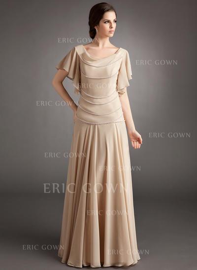 A-Line/Princess Chiffon Short Sleeves Cowl Neck Floor-Length Zipper Up Mother of the Bride Dresses (008213103)