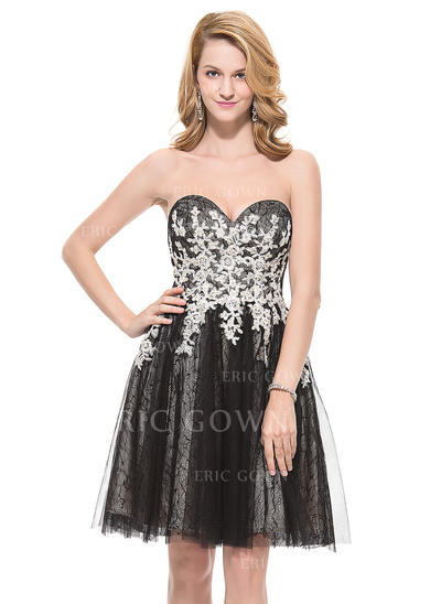 A-Line/Princess Sweetheart Knee-Length Homecoming Dresses With Beading Appliques Lace Sequins (022214111)