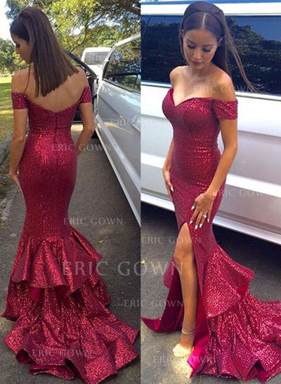 Glamorous Sequined Evening Dresses Trumpet/Mermaid Sweep Train Off-the-Shoulder Sleeveless (017216497)