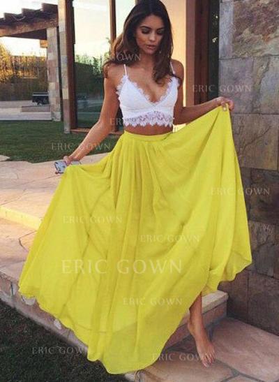 A-Line/Princess V-neck Floor-Length Evening Dresses With Lace (017218601)