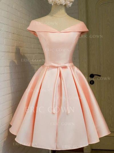 A-Line/Princess Off-the-Shoulder Knee-Length Satin Cocktail Dresses With Sash Bow(s) (016217652)