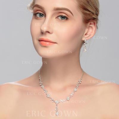 Jewelry Sets Alloy Rhinestone Lobster Clasp Pierced Wedding & Party Jewelry (011167148)
