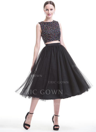 A-Line/Princess Scoop Neck Tea-Length Satin Tulle Homecoming Dresses With Beading Sequins (022214110)
