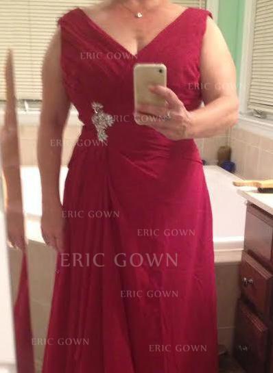 A-Line/Princess Chiffon Sleeveless V-neck Floor-Length Zipper Up Mother of the Bride Dresses (008212731)