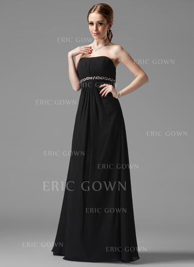 Empire Chiffon Bridesmaid Dresses Ruffle Beading Strapless Sleeveless Floor-Length (007001753)