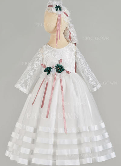 A-Line/Princess Scoop Neck Floor-length Tulle Christening Gowns With Lace (2001217422)
