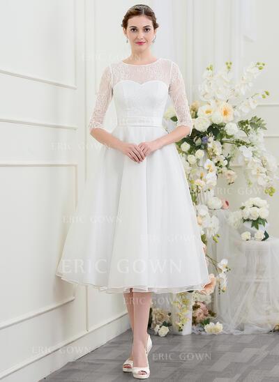 A-Line Illusion Tea-Length Organza Wedding Dress With Beading (002095819)