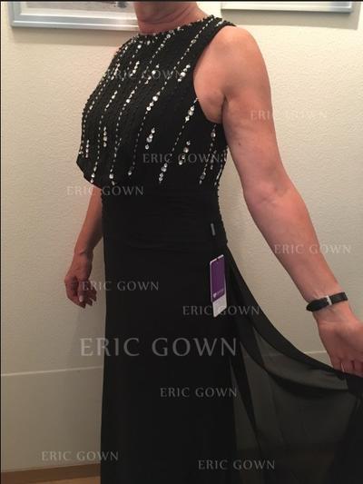 A-Line/Princess Chiffon Sleeveless Scoop Neck Floor-Length Zipper Up Mother of the Bride Dresses (008212713)