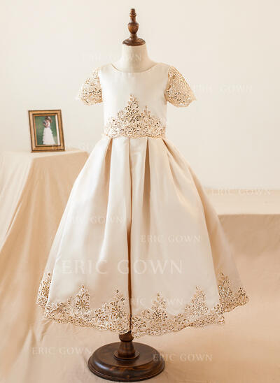 Ball Gown Knee-length Flower Girl Dress - Satin Short Sleeves Scoop Neck With Appliques/Sequins (010103733)