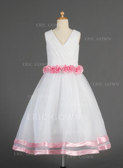 Simple V-neck A-Line/Princess Flower Girl Dresses Tea-length Organza/Satin Sleeveless (010014617)