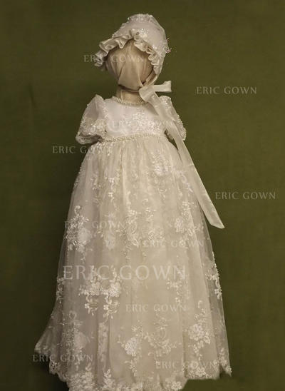 A-Line/Princess Scoop Neck Floor-length Lace Christening Gowns With Beading (2001217396)