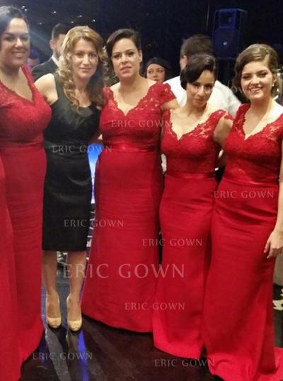 Trumpet/Mermaid Satin Lace Bridesmaid Dresses V-neck Sleeveless Sweep Train (007145091)