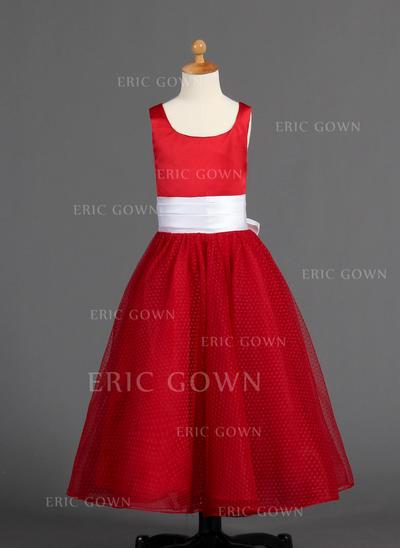 Luxurious Scoop Neck A-Line/Princess Flower Girl Dresses Floor-length Satin/Tulle Sleeveless (010005900)