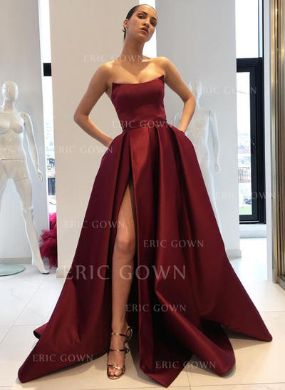 Ball-Gown Strapless Sweep Train Satin Evening Dresses With Ruffle Split Front (017217867)