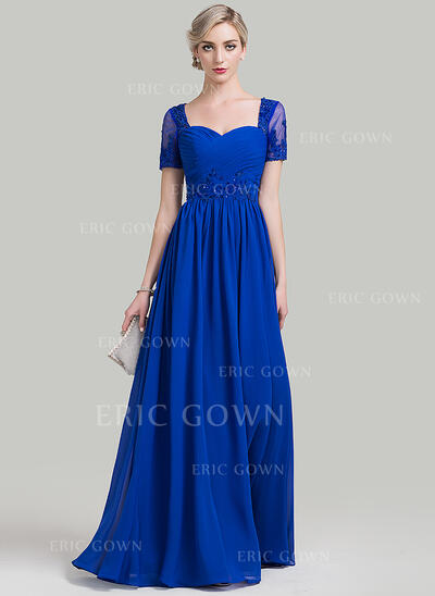 A-Line Sweetheart Floor-Length Chiffon Mother of the Bride Dress With Ruffle Beading Appliques Lace Sequins (008085275)