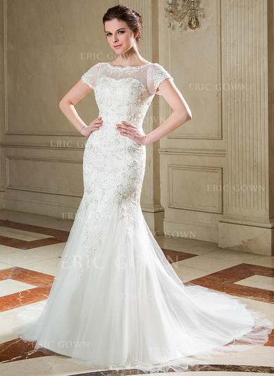 Trumpet/Mermaid Scoop Neck Court Train Tulle Lace Wedding Dress With Sequins (002040677)