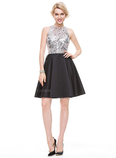 A-Line/Princess Scoop Neck Knee-Length Satin Cocktail Dress (016110556)