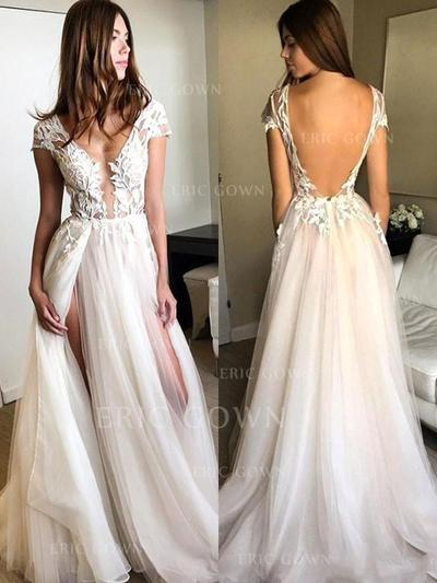 A-Line/Princess V-neck Floor-Length Evening Dresses With Appliques Lace Split Front (017216482)