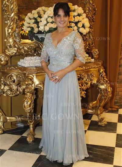 A-Line/Princess Chiffon 1/2 Sleeves V-neck Floor-Length Zipper Up Mother of the Bride Dresses (008212774)