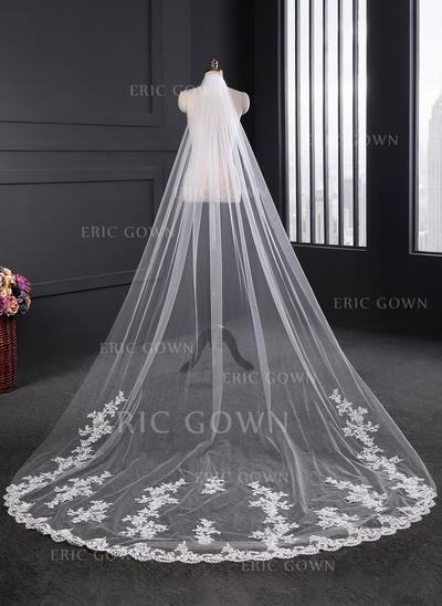 Cathedral Bridal Veils Tulle/Lace One-tier Classic With Lace Applique Edge Wedding Veils (006152325)