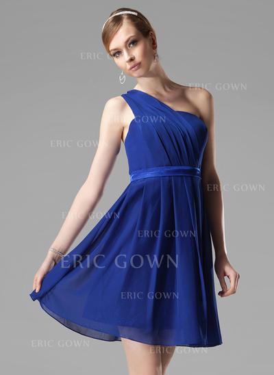 A-Line/Princess Chiffon Bridesmaid Dresses Ruffle One-Shoulder Sleeveless Short/Mini (007000777)
