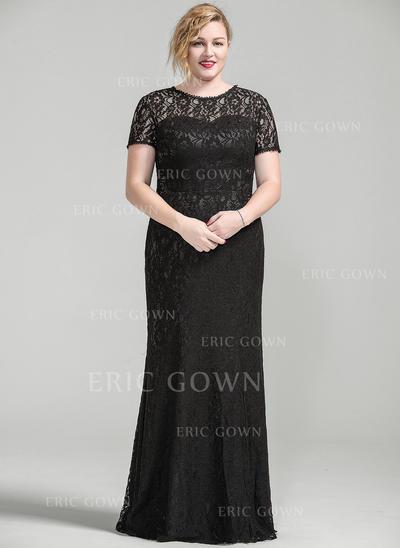 Trumpet/Mermaid Lace Short Sleeves Scoop Neck Floor-Length Zipper Up Mother of the Bride Dresses (008077024)