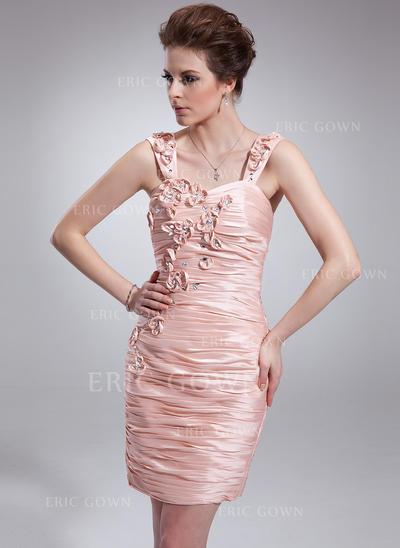 Sheath/Column Sweetheart Short/Mini Cocktail Dresses With Ruffle Beading Flower(s) (016021213)