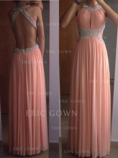 A-Line/Princess Scoop Neck Floor-Length Evening Dresses With Beading (017216516)