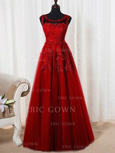 A-Line/Princess Tulle Prom Dresses Beading Scoop Neck Sleeveless Floor-Length (018210314)