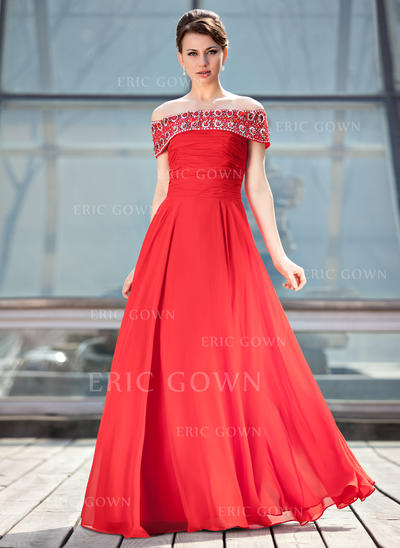 A-Line/Princess Chiffon Sleeveless Off-the-Shoulder Floor-Length Zipper Up Mother of the Bride Dresses (008213154)