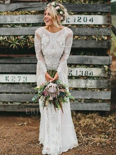 Scoop A-Line/Princess Wedding Dresses Lace Long Sleeves Sweep Train (002213524)