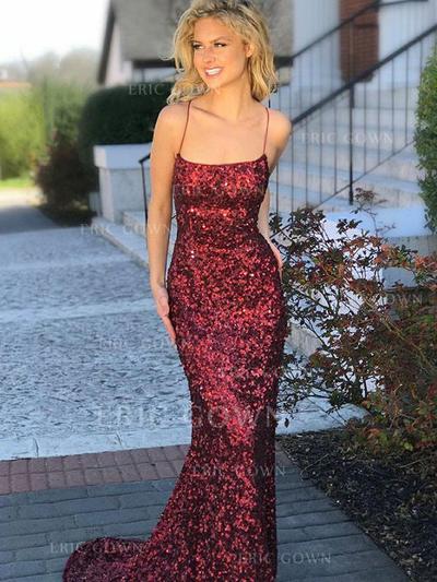 Trumpet/Mermaid Square Neckline Sweep Train Prom Dresses (018218654)