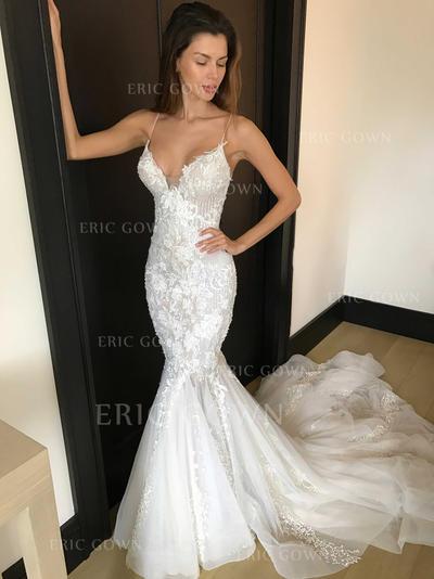 Trumpet/Mermaid Deep V Neck Chapel Train Wedding Dresses With Appliques Lace (002144906)