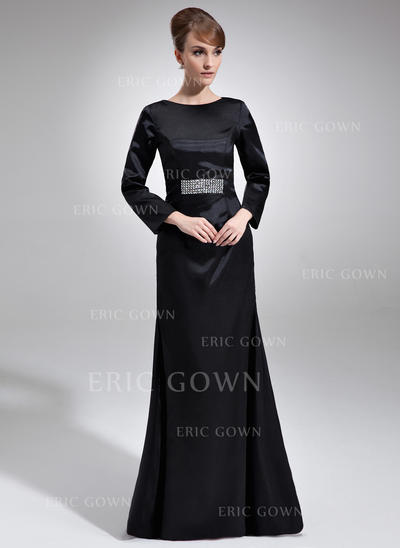 Sheath/Column Charmeuse Long Sleeves Scoop Neck Floor-Length Zipper Up Mother of the Bride Dresses (008006227)