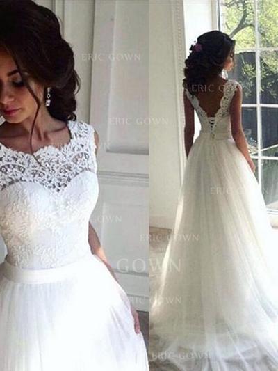 Scoop A-Line/Princess Wedding Dresses Tulle Lace Sash Beading Sleeveless Sweep Train (002213545)