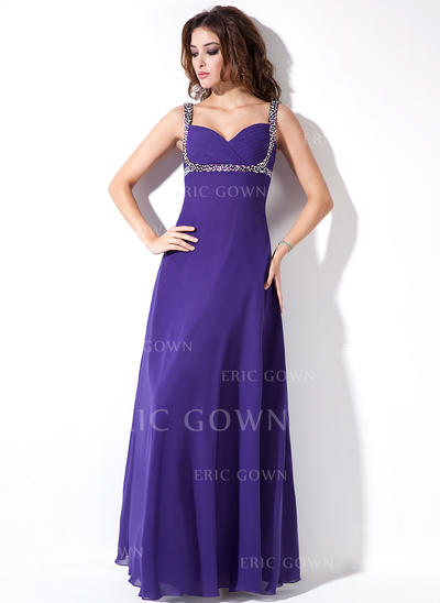 Empire Sweetheart Floor-Length Evening Dresses With Ruffle Beading Sequins (017020671)