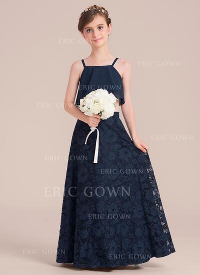 A-Line/Princess Floor-length Flower Girl Dress - Chiffon/Lace Sleeveless Square Neckline (010136600)